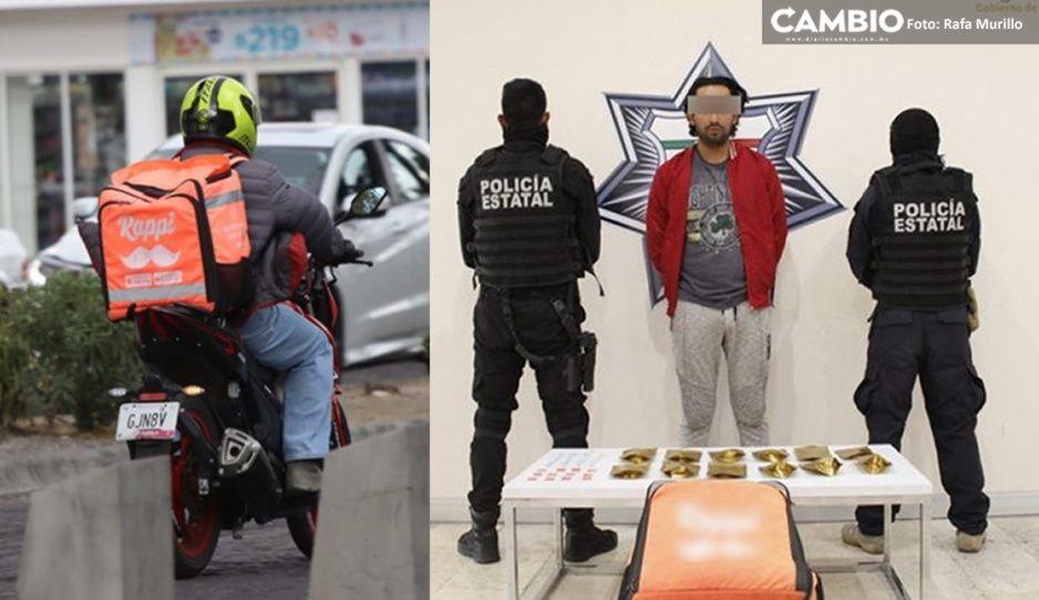 Cae el Rappi de la mota y el cristal: detienen a repartidor de drogas en Cuautlancingo