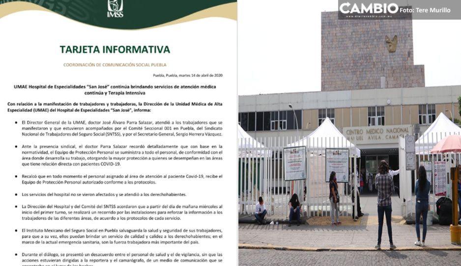 Autoridades del IMSS San José se niegan a entregar insumos tras manifestación de médicos
