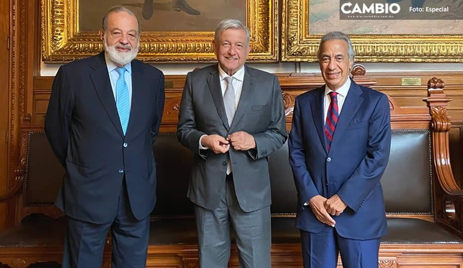 AMLO se reúne con Carlos Slim y su compadre Miguel Rincón en Palacio Nacional
