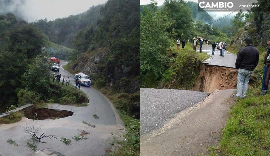 ¡Impactante! Así se desborda la carretera Tetela-Zacapoaxtla ante las fuertes lluvias (VIDEO)