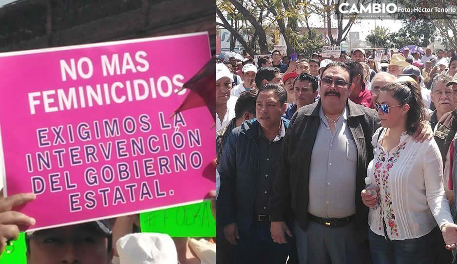 Pobladores, comerciantes y tianguistas se unen para protestar contra la inseguridad en Texmelucan