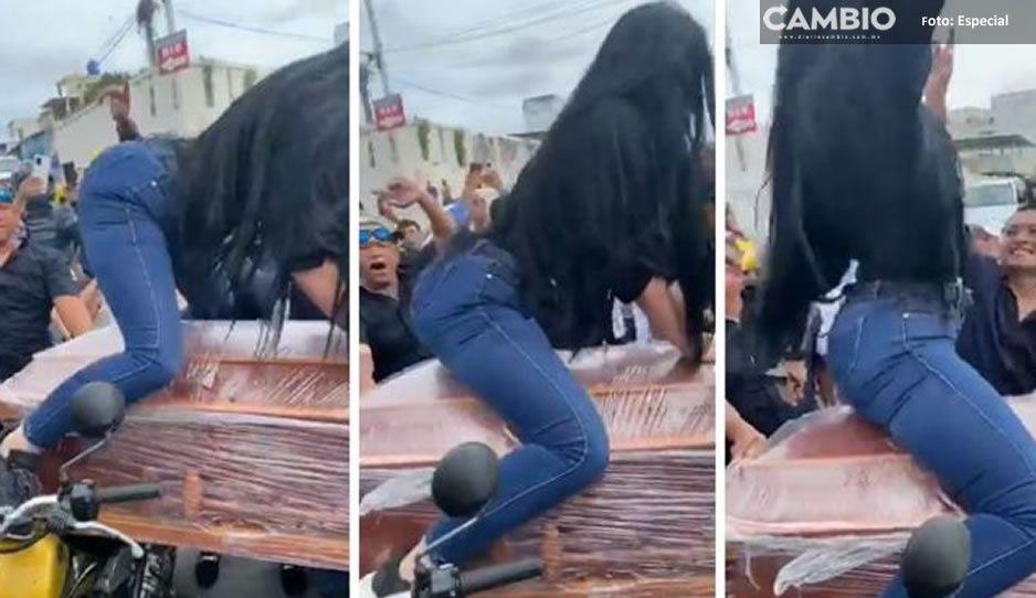 Perreo hasta la muerte: Mujer cumple última voluntad y baila sobre ataúd de su esposo (VIDEO)