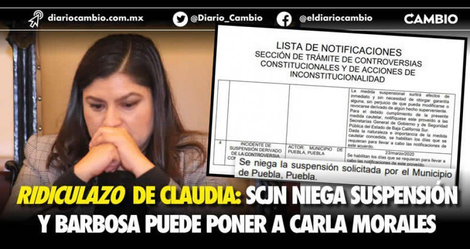 Ridiculazo de Claudia: SCJN niega suspensión y Barbosa puede poner a Carla Morales