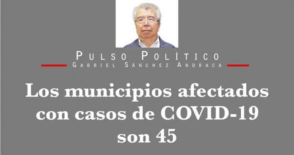 Los municipios afectados con casos de COVID-19 son 45