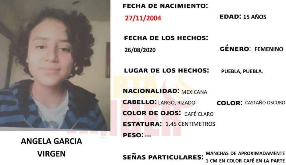 Desaparece Ángela García de 15 de años ¡ayuda a encontrarla!