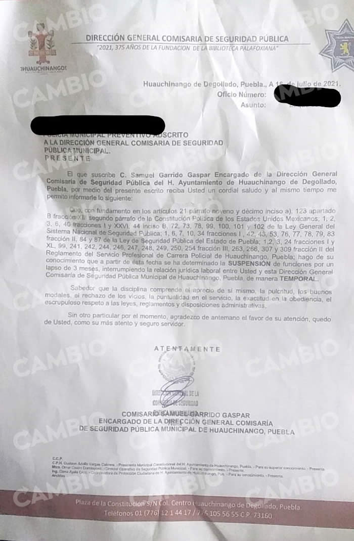 documento despido policias huauchinango