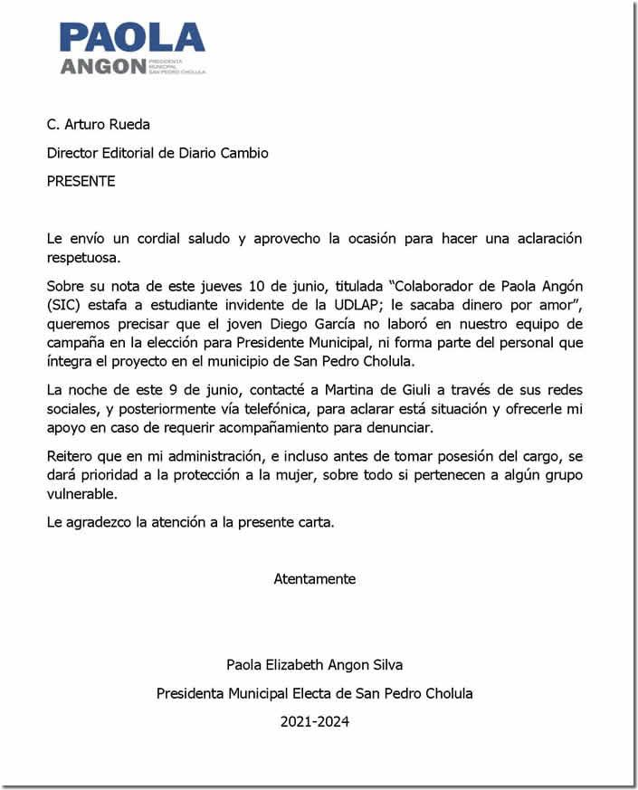 carta aclaratoria Paola Angon