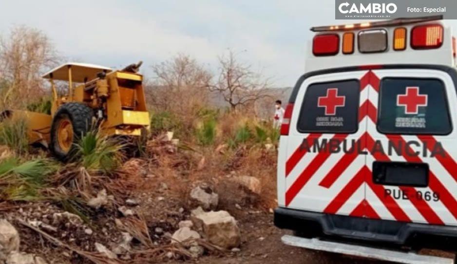 ¡Qué tragedia! Muere hombre aplastado por una vibrocompactadora en Atlixco