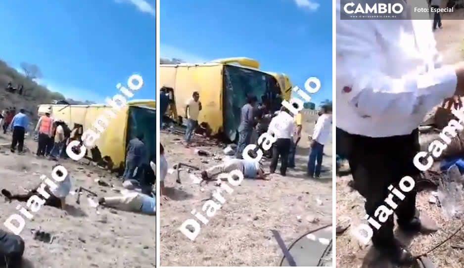 ¡Sábado trágico! Pasajero borracho provoca volcadura de ORO en Izúcar; hay seis muertos (VIDEO)