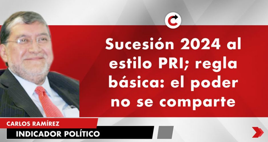 Sucesión 2024 al estilo PRI; regla básica: el poder no se comparte