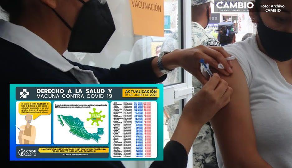 Han vacunado a 16 mujeres presas en Puebla