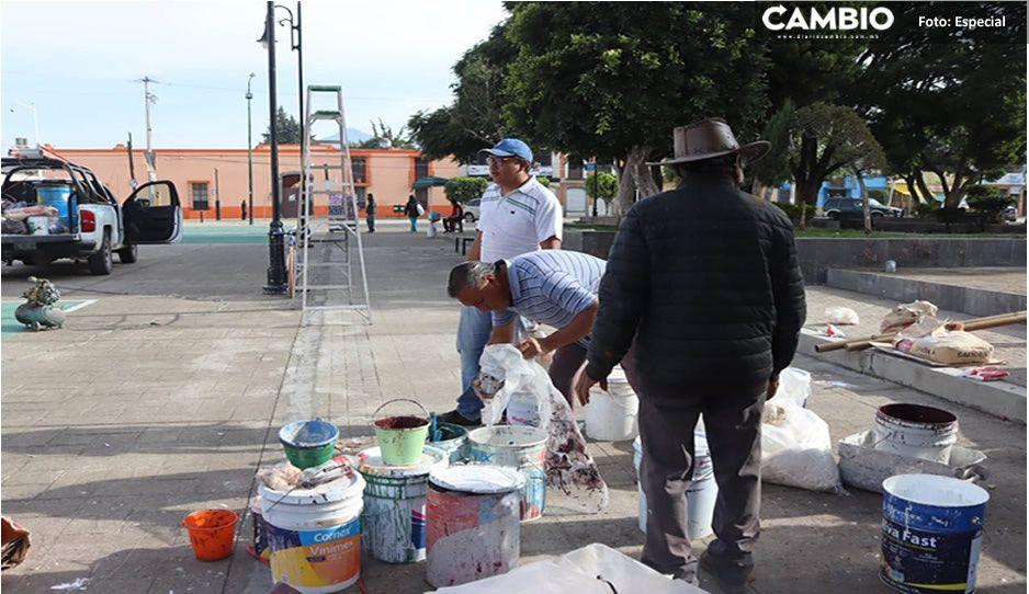 """Realizan trabajos de mantenimiento en la Unidad Deportiva y mercado municipal """"Ignacio Zaragoza"""" de Amozoc"""