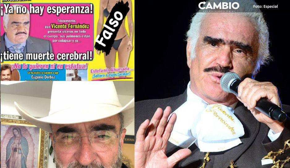 Vicente Fernández Jr desmiente muerte cerebral de su padre y explota vs TvNotas: son un asco
