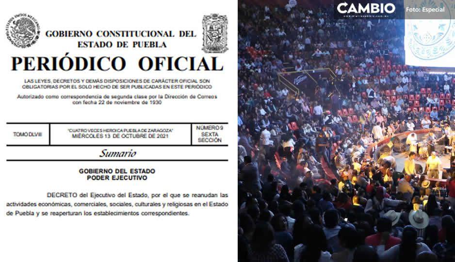 OFICIAL: Gobierno de Puebla publicó el decreto para la reactivación total