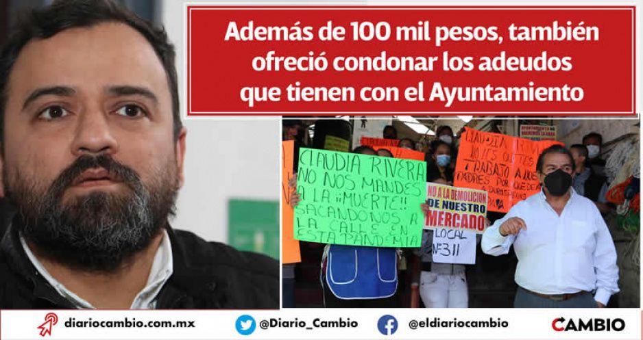 Claudia advierte desalojo de locatarios que rechazan demolición del Mercado Amalucan (VIDEOS)