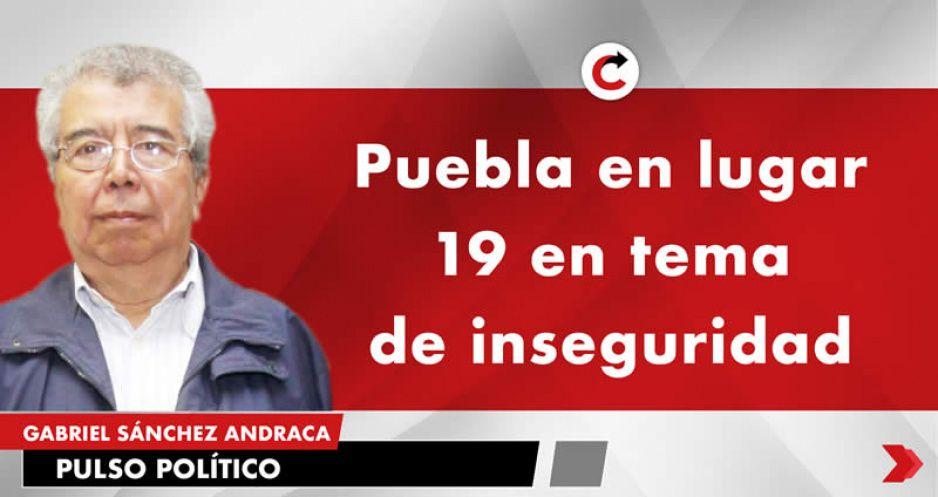 Puebla en lugar 19 en tema de inseguridad