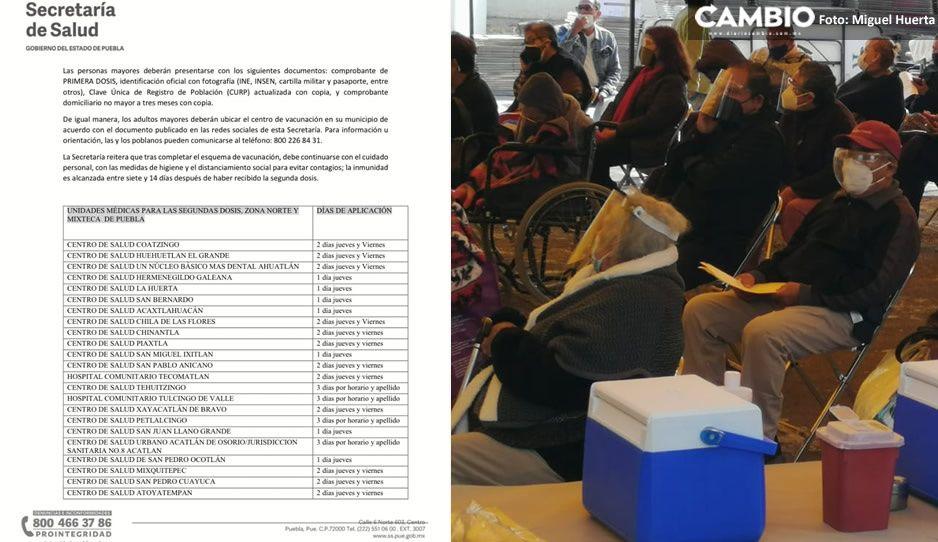 Mañana aplicarán segunda dosis para abuelitos en 44 municipios de Puebla; checa la logística