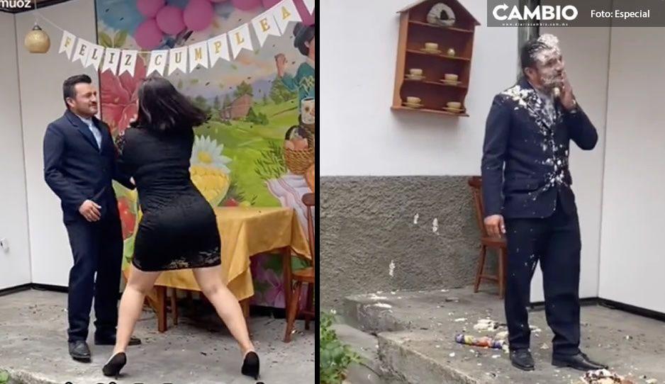 Exhiben en VIDEO a infiel; su novia lo descubre y le da tremendo pastelazo en la cara