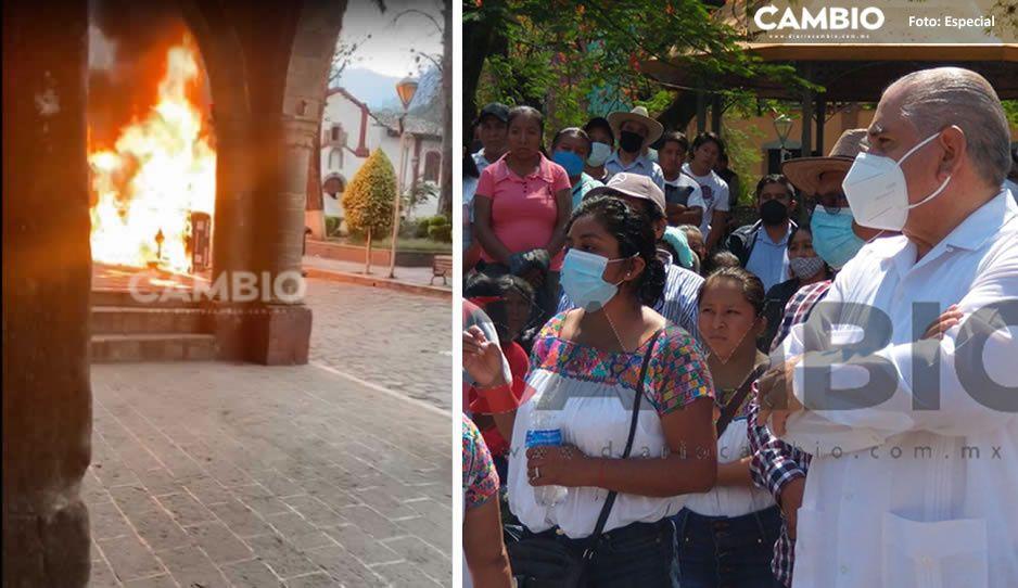 Ardelio Vargas dialoga con habitantes de Pahuatlán tras violentas protestas