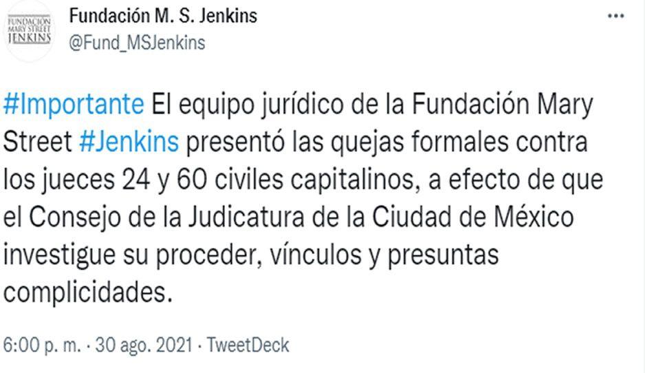 Fundación Jenkins presenta quejas formales contra jueces 24 y 60 de la CDMX