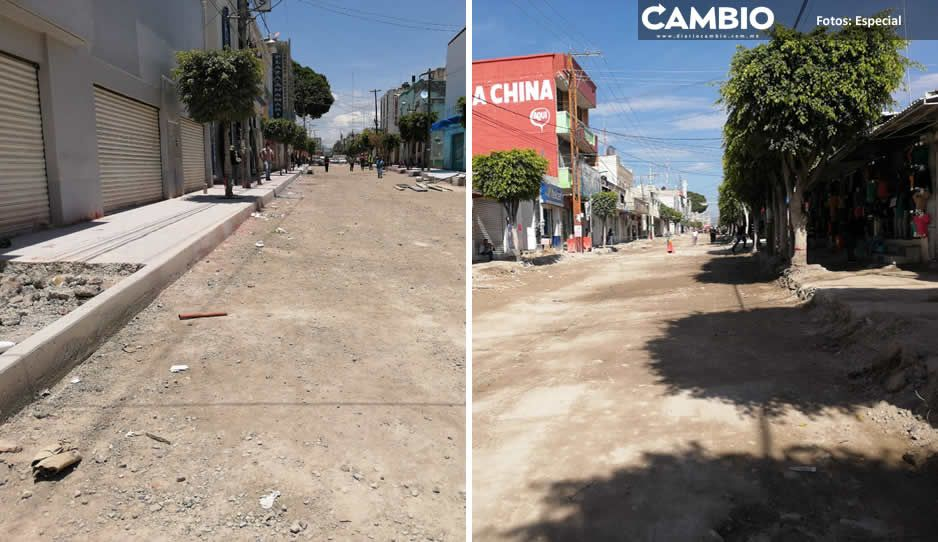 Comerciantes de la 5 Oriente en Tehuacán cierran ante obra abandonada de Artemio Caballero