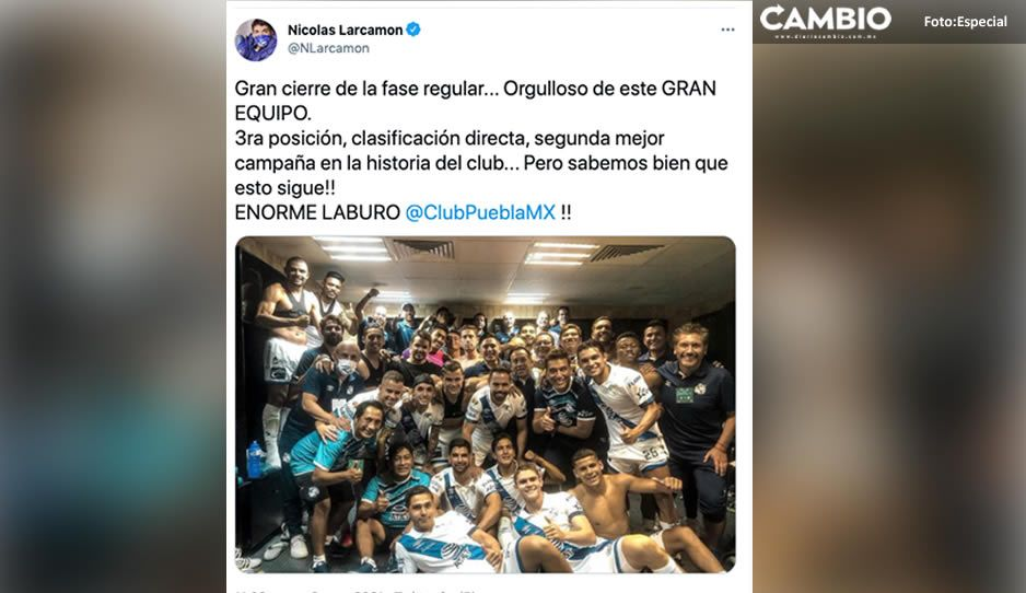 Larcamón se conmueve con el Club Puebla: estoy orgulloso de este GRAN equipo