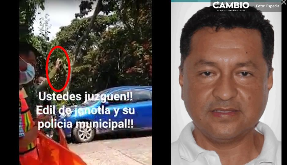 VIDEO: Edil inconsciente de Jonotla festeja con disparos al aire la pavimentación de una calle