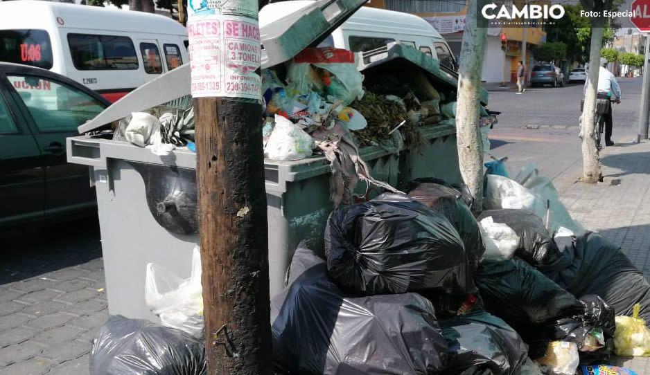 ¡Qué asco! Así lucen las calles de Tehuacán, atascadas de basura tras bloquear el relleno sanitario