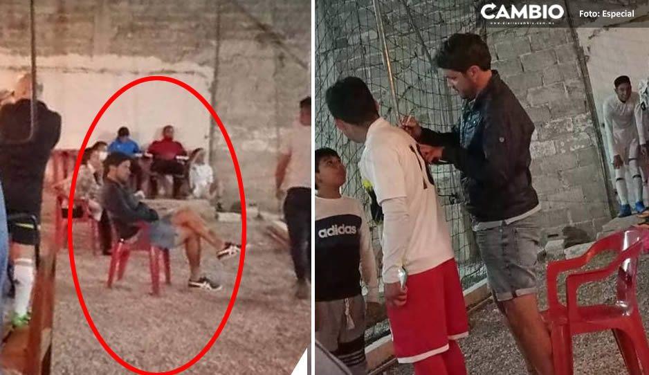 ¡Larcamón ya eres poblano! Técnico del Puebla se echa una cascarita en barrio de Cholula (FOTOS)