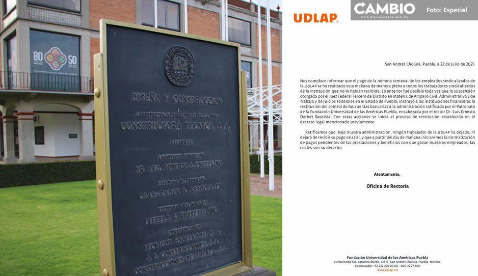 Descongelan cuentas a la Udlap; pagan sueldos a trabajadores sindicalizados