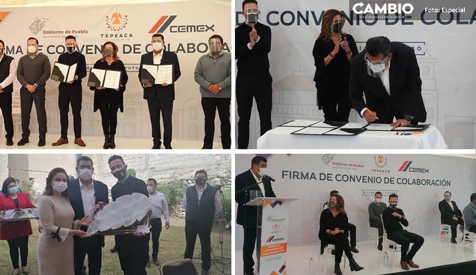 Sergio Salomón firma convenio con CEMEX para fortalecer infraestructura en Tepeaca