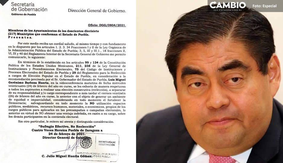 Exhorta Barbosa a ediles que buscan reelegirse a pedir licencia a más tardar el 26 de febrero