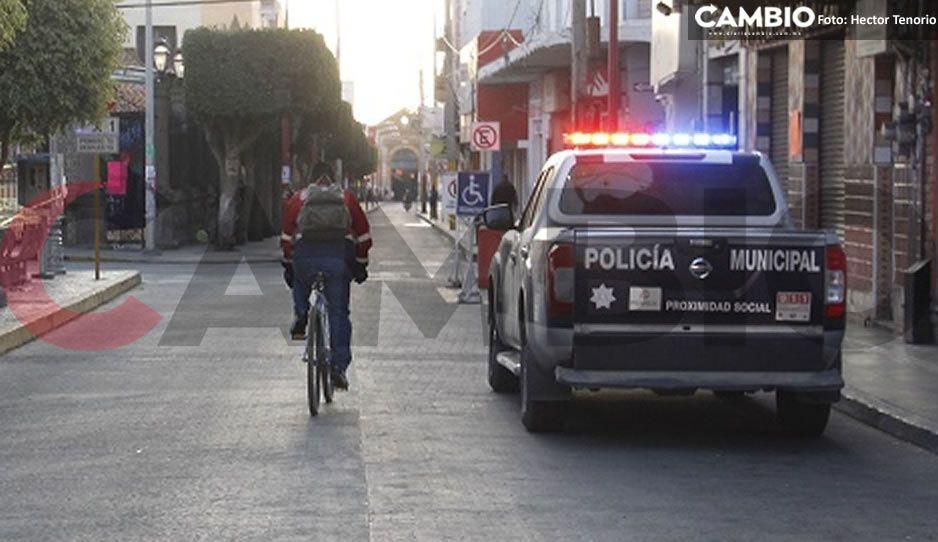 Policías implementan operativo para evitar la instalación de ambulantes en Texmelucan