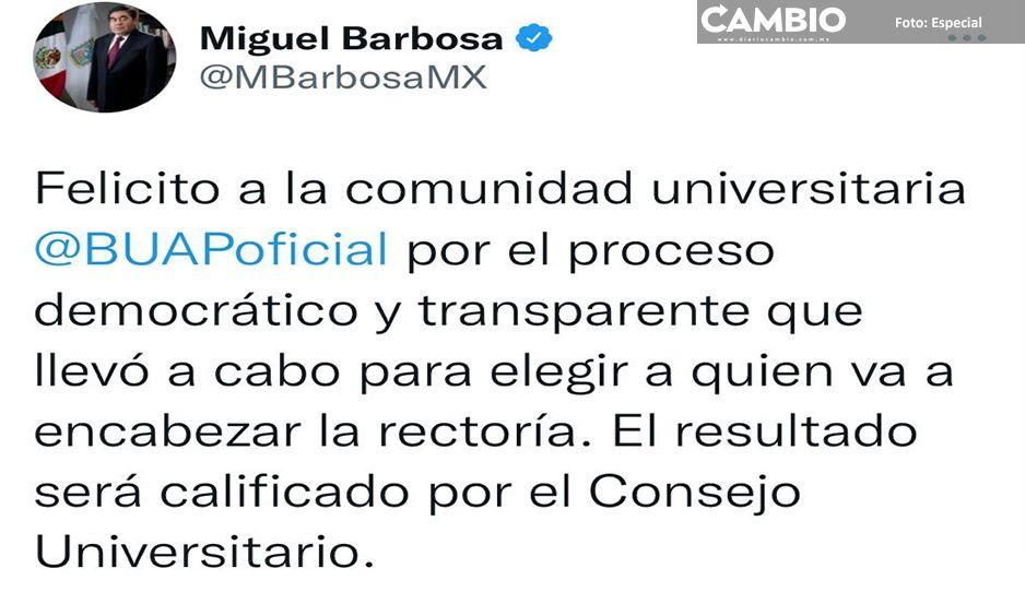 Barbosa felicita a comunidad universitaria por participación en elecciones para la rectoría BUAP