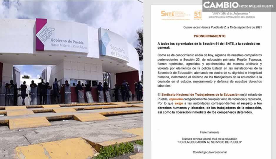 Condena SNTE desalojo y agresión a maestros de Tecamachalco en la SEP