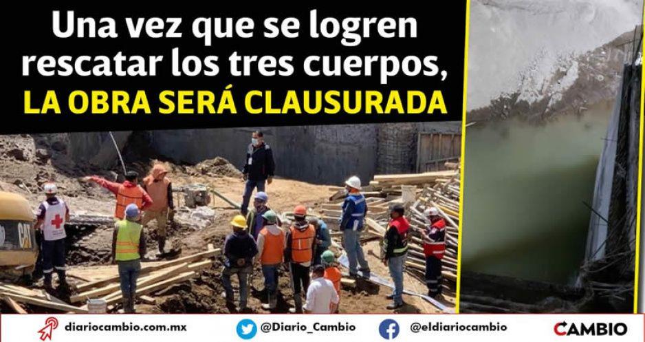 Inundaciones impiden a los cuerpos de rescate recuperar a los tres albañiles sepultados en Texmelucan (VIDEOS)