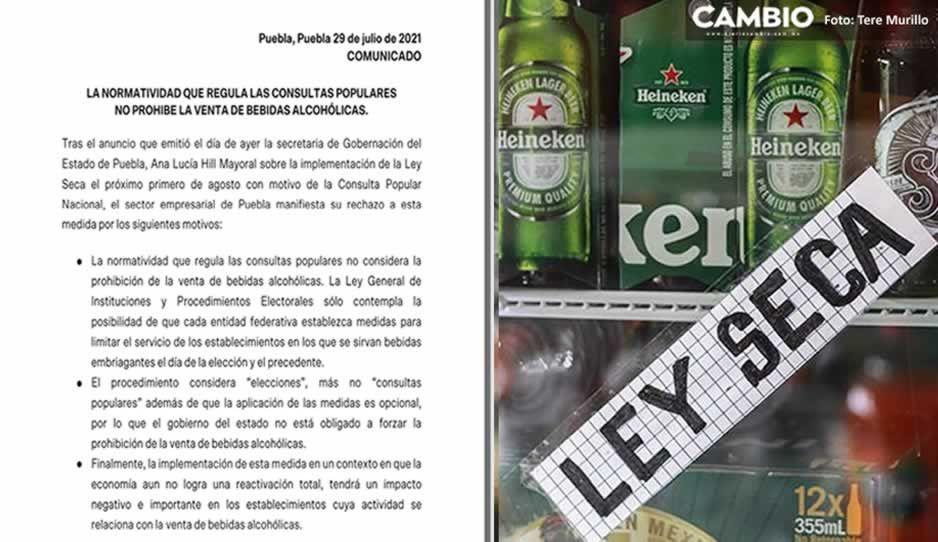 Canaco y Coparmex rechazan ley seca en Puebla por consulta popular de AMLO