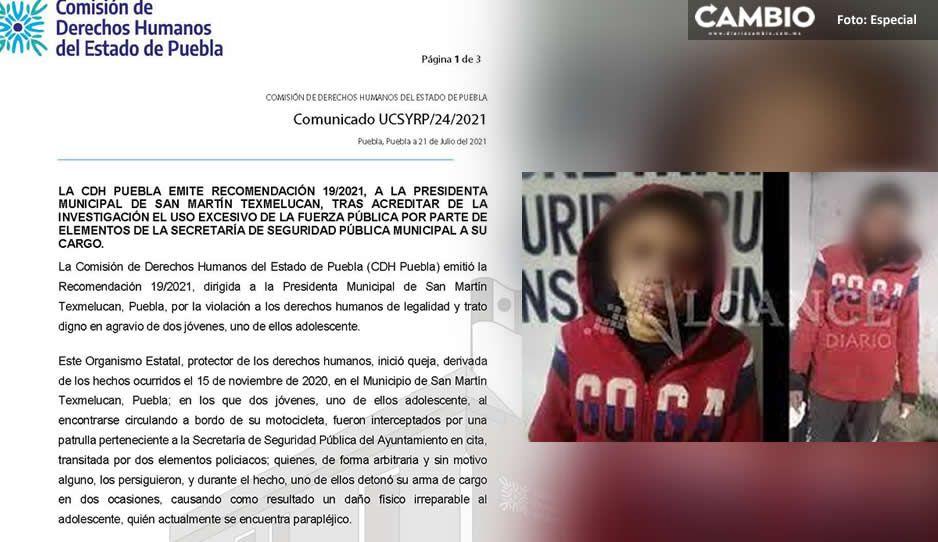 La CDHEP pide a las autoridades de Texmelucan pagar daños a jóvenes por abuso policial en 2020