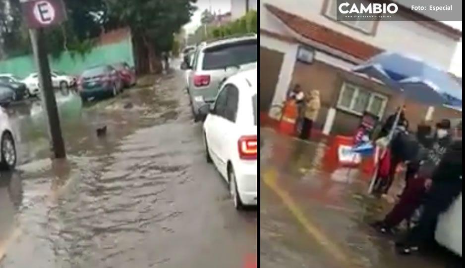 VIDEO: Lluvias azotan a San Andrés Cholula; autos quedaron varados
