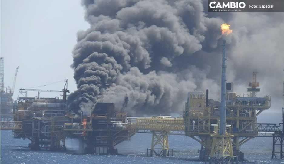 Se incendia plataforma marina Ku-Alfa de Pemex en Campeche