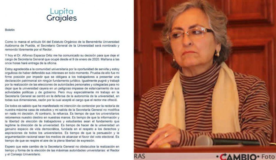 Es tiempo de que haya libre expresión en la BUAP: rompe Lupita Grajales con Esparza
