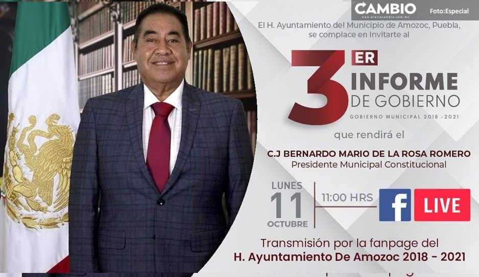 Mario de la Rosa rendirá su Tercer Informe de Gobierno el 11 de octubre en Amozoc