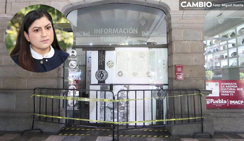 Claudia aún no repara la puerta de Información Turística vandalizada por sindicalizados (FOTOS y VIDEO)