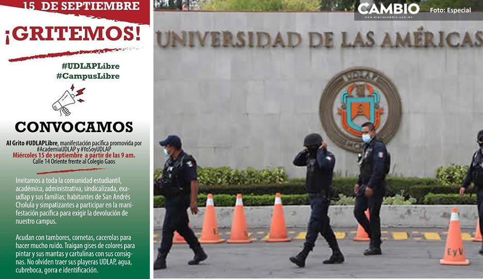 Alumnos de UDLAP convocan a marcha el 15 de septiembre; exigen liberación del campus