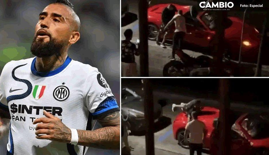 VIDEO: Captan borracho a Arturo Vidal intentado subir a su Ferrari