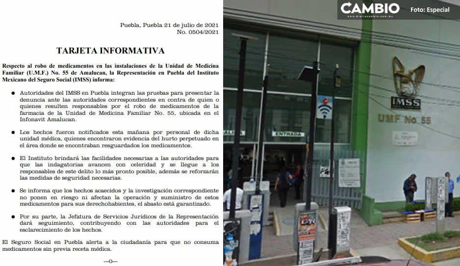 IMSS Amalucan confirma el robo de 8 mil medicamentos para diabéticos