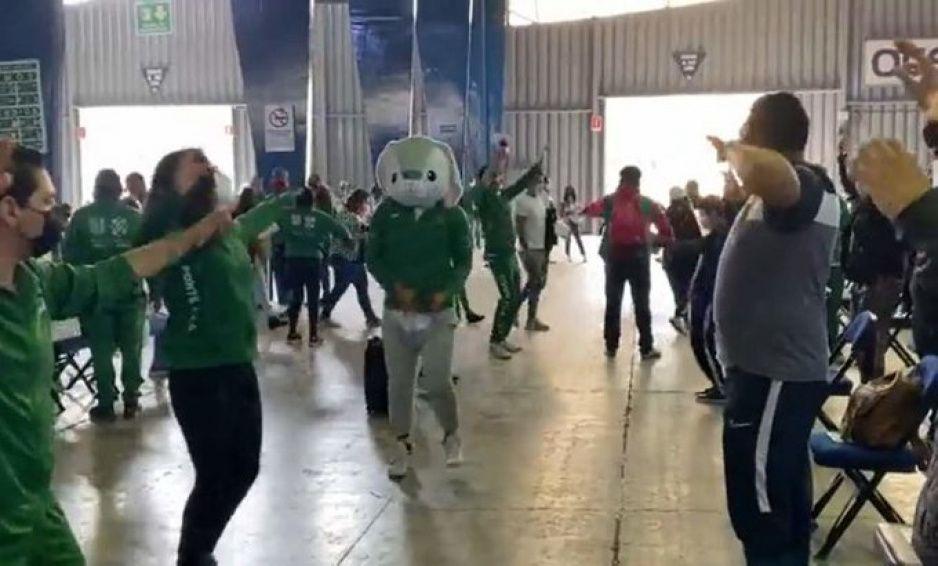 ¡Ya llegó Covidio! Conejo pone a bailar a todos durante la vacunación (VIDEOS)