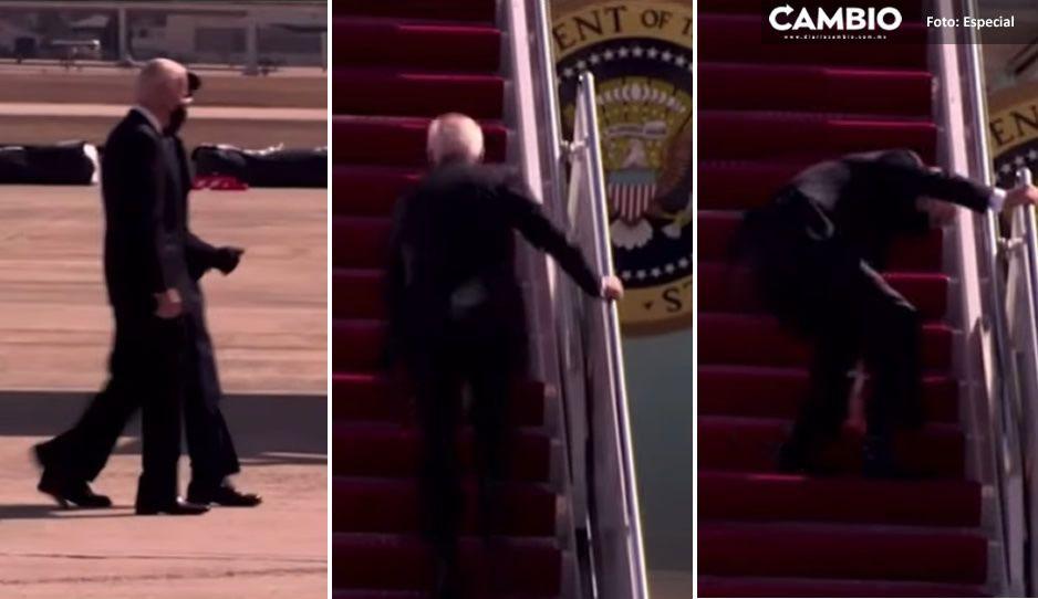 VIDEO: Biden desata burlas por caerse cuando subía escaleras del avión presidencial