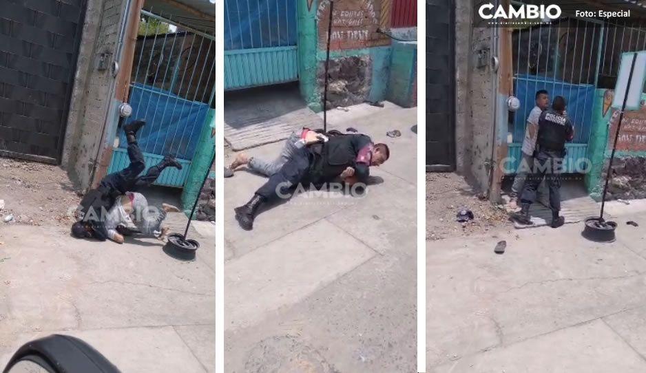 ¡Abusivo! Indigente pidió comida y policía de Izúcar lo desaloja violentamente