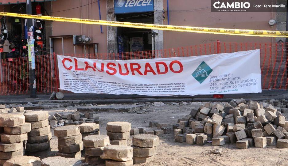 Gobierno estatal clausura obras del Ayuntamiento en el Centro Histórico por incumplir con el decreto (FOTOS y VIDEO)